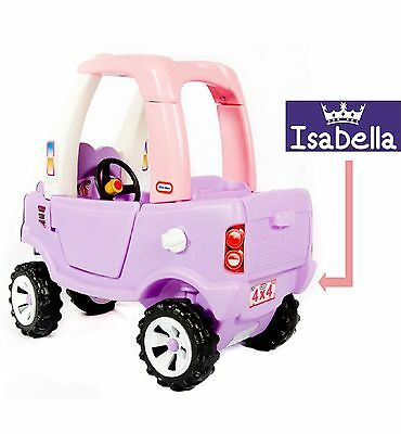 Engraved Number Plate Girls Princess Little Tikes Cozy Truck Name Children Gift
