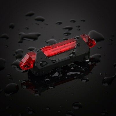 USB Rechargeable Bike Bicycle Rear Light Safety Led Tail Light Red Lamps Outdoor