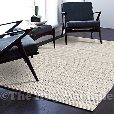 MALMO CREAM GREY HANDKNOTTED NATURAL FELTED WOOL MODERN FLOOR RUG 155x225cm *NEW
