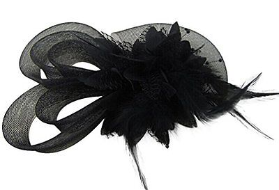 Womens Fascinators Hat Small Hairpin Feather Mesh Flower Hairclip Black