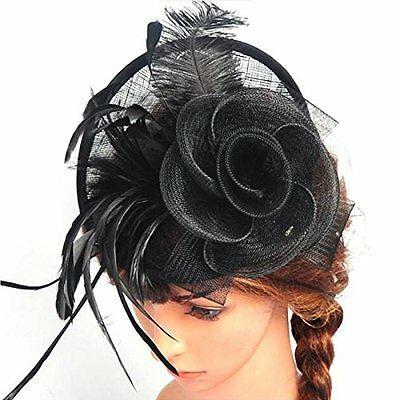 Lanzom® Women Chic Fascinator Hat Cocktail Wedding Party Church Headband Black