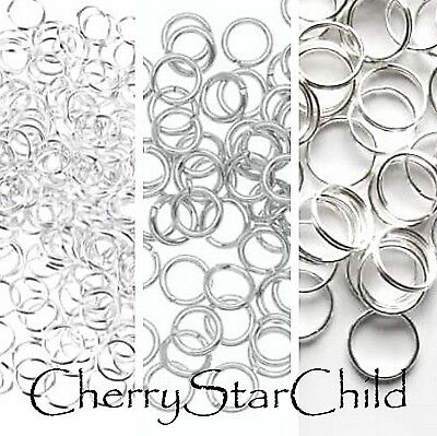 100 x silver pl split jump rings small medium large jewellery craft findings