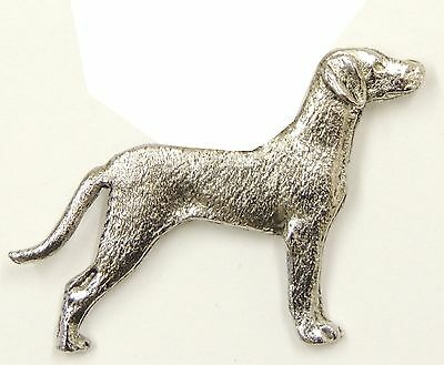 Weimaraner(with tail) Brooch, Silver Plated