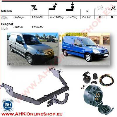 TOWBAR with Electrics 12N 7pin Citroen Berlingo / Peugeot Partner I 1996 to 2008