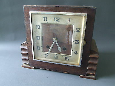 Vintage oak wooden chiming mantle clock for restoration