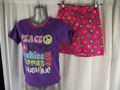 BNWT Girls Sz 8 Cute Pink/Purple/Hearts Short Summer Style Stretch  PJ Pyjamas