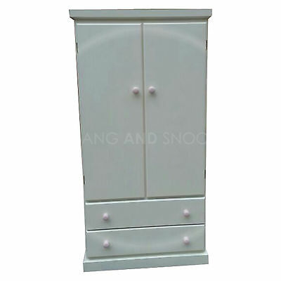 Hand Made Kiddies Furniture 2 Drawer Wardrobe Ivory Pink (Assembled)