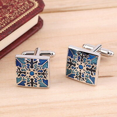 1 Pair Classic Mens Wedding Party Gift Shirt Square Blue Cufflinks Cuff Links AU