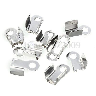 100Pcs Folding Crimps Connector Ends Silver Plated Cords for Leather Jewellery