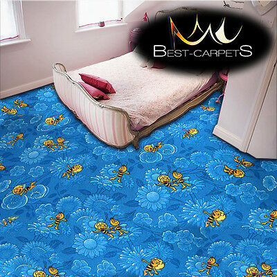 CHILDREN'S CARPET 'MAYA THE BEE' blue Disney Kids Bedroom, Fun Rug, ANY SIZE