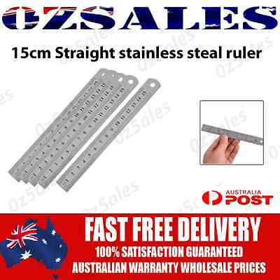15cm Stainless Steel Pocket Measuring Ruler Scale Rule Two Sided Metric 6inch