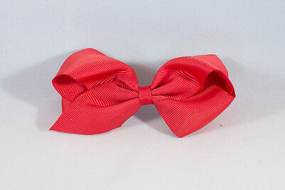 Unit of 10 Large 4 Inch Red Hair Bows on Large French Barrette Clips Grosgrain