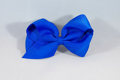 Unit of 10 Large 4 Inch Royal Blue Hair Bow Large French Barrette Clip Grosgrain