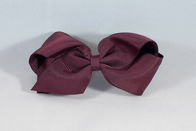 Unit of 10 Large 4 Inch Burgundy Hair Bow Large French Barrette Clip Grosgrain