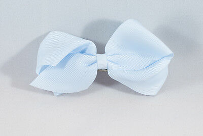 Unit of 10 Large 4 Inch Baby Blue Hair Bow Large French Barrette Clip Grosgrain