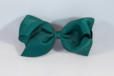 Unit of 10 Large 4 Inch Teal Hair Bow on Large French Barrette Clip Grosgrain