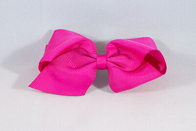 Unit of 10 Large 4 Inch Fuschia Hair Bow on Large French Barrette Clip Grosgrain