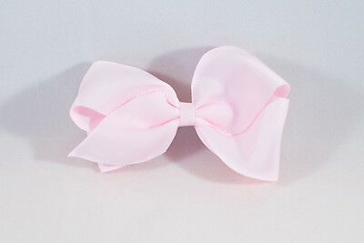 Unit of 10 Large 4 Inch Baby Pink Hair Bow Large French Barrette Clip Grosgrain