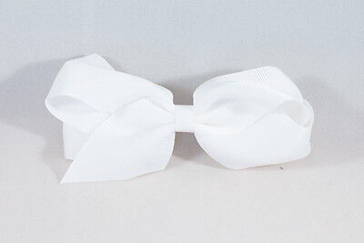 Unit of 10 Large 4 Inch White Hair Bow Large French Barrette Clip Grosgrain