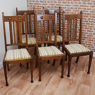 Set of 5 Antique Arts & Crafts Medium Oak Tall Back Upholstered Chairs C1900