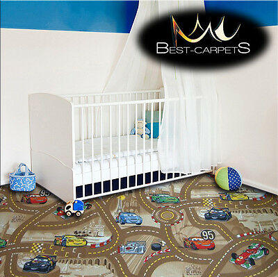CHILDREN'S CARPET CARS beige Disney Kids Bedroom Rug, ANY SIZE Play Room Pixar