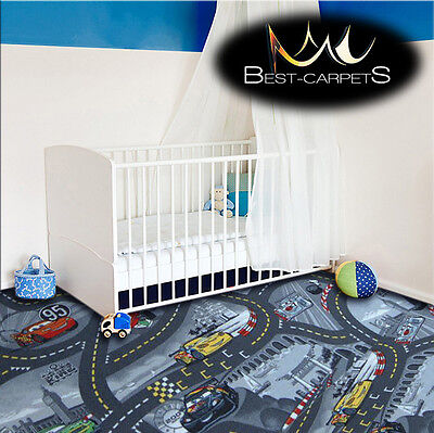 CHILDREN'S CARPET CARS grey Disney Kids Bedroom Rug, ANY SIZE Play Room Pixar