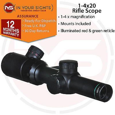 1-4x20 Compact Riflescope Red/Green Illuminated Reticle. CQB Tactical scope