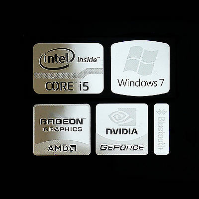 Intel Core i5 Logo Metal Decal Sticker NVIDIA Radeon Graphics (Silver Type B)