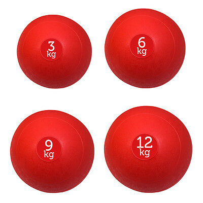 Set Of 4 Red Fxr Sports No Bounce Slam Balls Ball Fitness Gym (3, 6, 9 & 12Kg)
