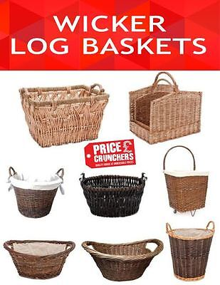 Wicker Log Wood Basket Storage Large Hamper Willow Laundry Picnic