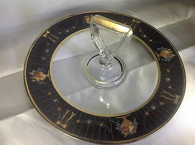 Antique Glass Serving Plate With Handle Gold Black Flowers Bows