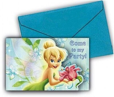 Disney Fairies Tinkerbell Flowers Party Invitations With Envelopes 6 Pack