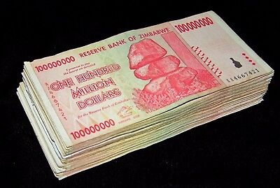 50 x Zimbabwe 100 Million Dollar banknotes-1/2 currency bundle