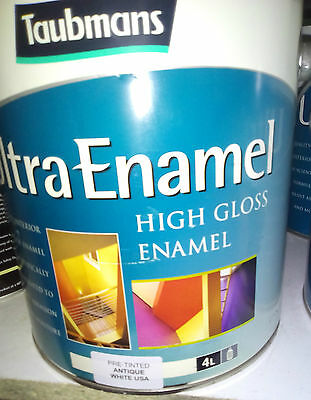 Taubmans High Gloss Int / Exterior Pre Tinted Paint Antique White Usa 4L Enamel