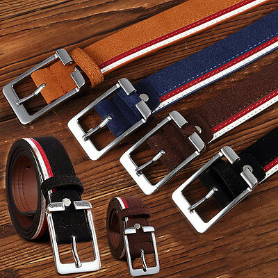 Style Mens Belts Faux Leather Jeans Waistband Waist Straps Buckle Fashion Belt