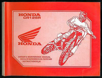 Owner's Maintenance Manual HONDA CR 125 R 1991 Mantenimiento - Instructieboekje
