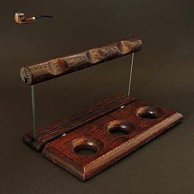 HAND MADE WOODEN STAND / RACK / HOLDER OAK TREE + GLASS  for 3 Smoking Pipes