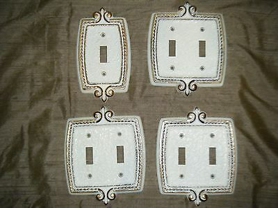 4 Vtg SA Brass Gold Trim White Paint Fleur de Lis French Provincial Switch Plate • CAD $21.41