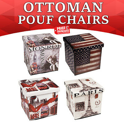 Large Ottoman Foot Stool Faux Leather Pouffe Folding Seat Chest Storage Box Cube