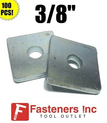 "(#4601) P1063 3/8"" X 1-5/8 X 1-5/8 Square Washers for Unistrut Channel (100 BOX)"