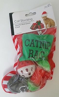 Christmas Cat Stocking Toys For Pet Cats Catnip Xmas Bag Toy Mouse Ball Bells