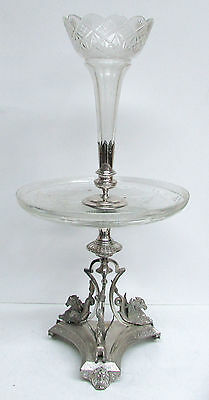 Outstanding Victorian Era Plate Wing Sea Horses Double Tier Crystal Epergne