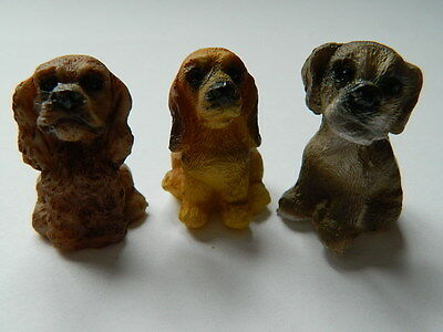 (G5.11) Dolls House Resin Set Of Three Assorted Small Dogs/pups