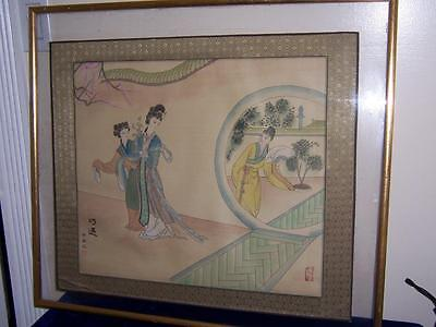 Vintage Signed Japanese Watercolor Painting On Silk Geisha Women Plum Tree