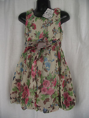 BNWT Girls Sz 4 Bubble Hem Sleeveless Cute Cream & Roses Fully Lined Party Dress