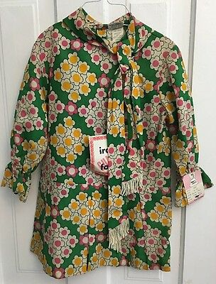 Vintage 60s-70's Girl's Size 7 Dress Green Floral MARY JANE w/ TAG Mid Century
