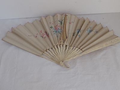 Antique Hand Made  Silk Fan Hand Painted