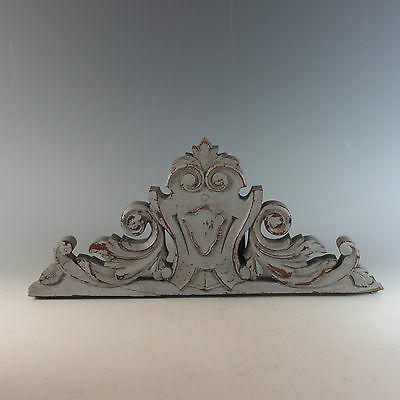 Antique French Chalk Painted Pediment