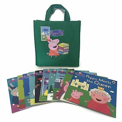 Peppa Pig Book Bag Collection - 10 new Paperback Books Green Bag)