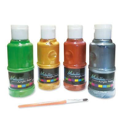 Metallic Acrylic Paint 4 Colors x 120ml Great for Kids Painting Non-Toxic Safe